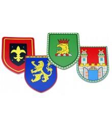 Escudos Medievales con leon, águila, flor lis y castillo