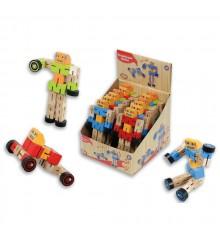 Robots de madera transformables. Pack 12 unidades