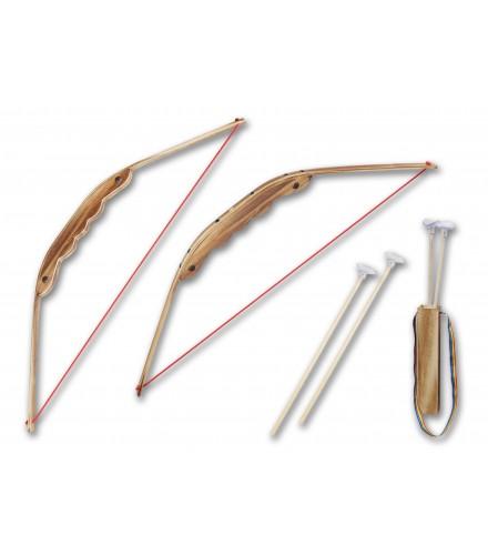 Arco de madera y bambú con carcaj, pack 20 uds