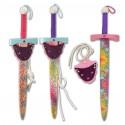 Espada y portaespadas decorados para niñas, pack 12 uds