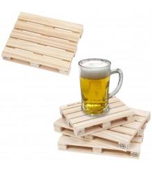 Posavasos de madera con forma de palet impreso con logo, pack 36 uds