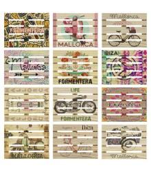 Posavasos de madera con forma de palet personalizable, pack 36 uds