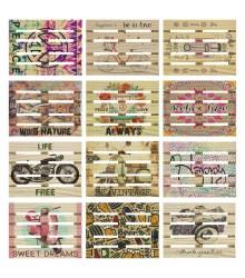 Posavasos de madera con forma de palet con frases en inglés, pack 36 uds
