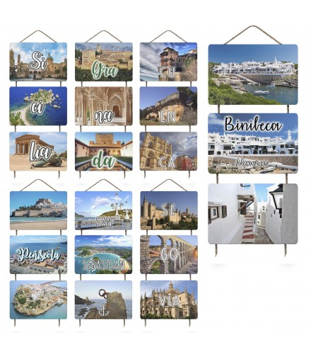 Colgador con 3 postales de madera personalizables con foto, pack 24 uds
