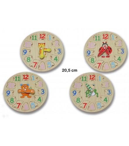 Puzzle con forma de reloj