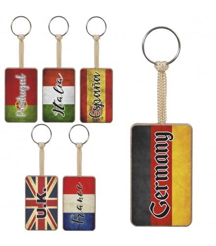Llaveros de madera personalizables con banderas, pack 32 uds