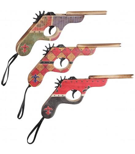 Pistola dispara gomas con decoración medieval, pack de 18 uds