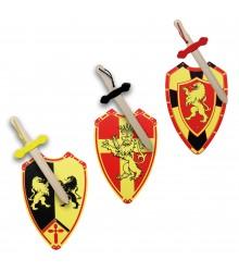 Conjunto de escudos y espadas de madera, pack 6 uds