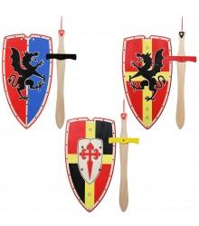 Set de escudos y espadas de madera XL, pack 12 uds