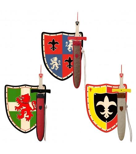 Set de escudos y espadas de madera con fundas portaespaespadas, pack 12 uds