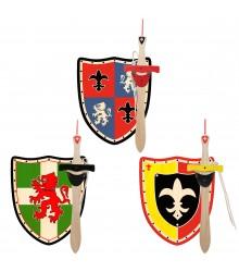 Set de escudos y espadas de madera con colgador portaespaespadas, pack 12 uds