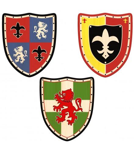 Surtido de escudos de madera con decoración medieval, pack 12 uds