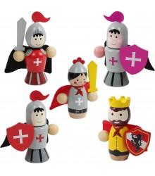 soldados medievales de madera articulados, pack 24 uds