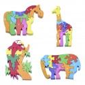 Puzzle de animales con números, pack de 8 udes.