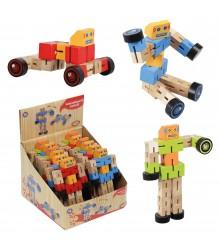 Robots de madera transformables en coche, Pack 12 unidades