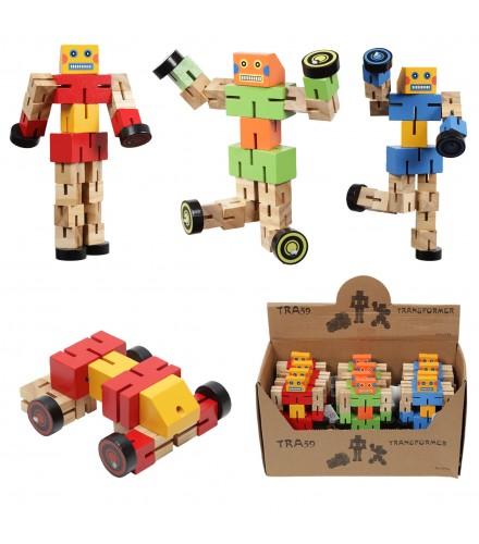 Robots de madera transformables en coche XL, pack 12 unidades