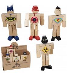 Superhéroes de madera articulados, pack 12 uds