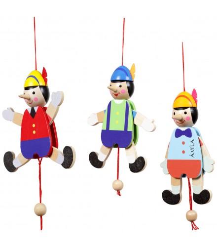 Muñecos Pinocho de madera articulados con cuerda, pack 24 uds