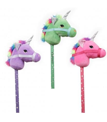 Unicornio multicolor correpasillos con palo, pack 6 uds