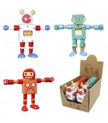 Robot articulado de madera con expositor, pack 16 uds