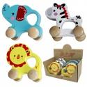 Animales de madera con ruedas, pack 6 uds