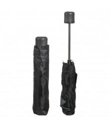 Paraguas plegable negro con puño de plástico, pack de 12 uds