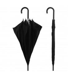 Paraguas negro largo con puño de plástico, pack de 12 uds