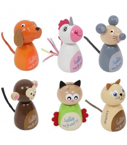 Muñecos tentetiesos de madera con figuras de animalitos, pack 24 uds