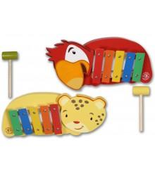 Xilófono con formas de animales y martillo