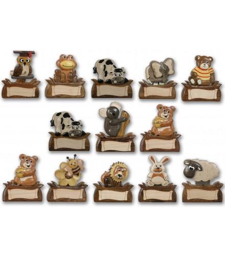 Imanes de madera con animalitos