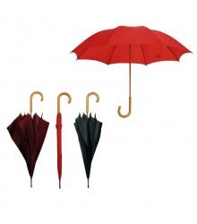 Paraguas largo madera en colores lisos, pack de 12 uds