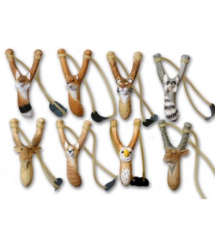Tirachinas animales tallados, pack de 32 uds