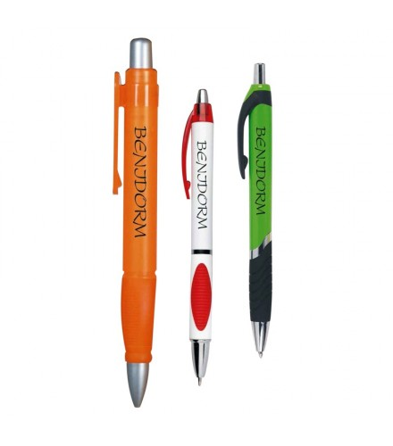 Bolígrafo verde-gris serigrafiado, pack de 50 uds